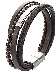 cheap -mens bracelet leather braided bracelet with magnetic clasp leather bracelet for men (brown braided leather& beads)