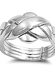 cheap -sterling silver women's puzzle braid new ring polished 925 band 11mm size 5