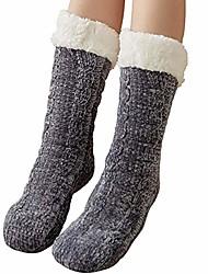 cheap -winter socks - 1 pair of fluffy cuddly socks - ladies girl slipper socks fluffy wool lining warm cuddly thermal socks, gray, one size (37-42)