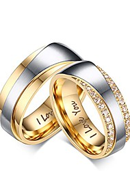cheap -jewelry stainless steel ring pendants engraved i love you wedding bands cz silver gold size 5