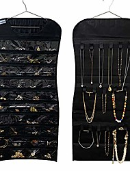 cheap -jewelry hanging dual-sided non-woven organizer holder 40 pockets 24 hooks storing jewelry-rings, earrings, bracelet, makeups, jewelry chain and accessories. (black-40-poket,24-hooks)