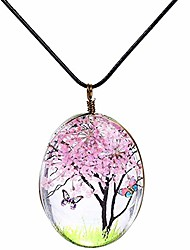 cheap -acrylic resin dry flower pendant leather long chain sweater dress statement necklace (pink)