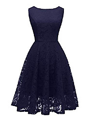 cheap -ladies boatneck lace cocktail party dress flowers short ball gown navy xxl