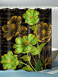 cheap -Flowers English Digital Printing Shower Curtain Shower Curtains  Hooks Modern Polyester New Design