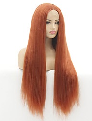 cheap -12-28 Inch New Product Wig Fashion Chemical Fiber Hair Cover Orange Long Straight Hair Fluffy Natural Wig Head Cover