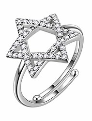 cheap -david star rings women 925 sterling silver open adjustbale ring crystal cubic zirconia jewelry dr0102w