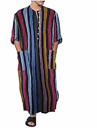 cheap -mens muslim robes v neck roll-up long sleeve muslim gown linen strpied print kaftan middle east saudi arabic robes with pockets (multicoloured, l)