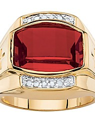 cheap -men's lab created red ruby and diamond 18k yellow gold-plated ring size 9