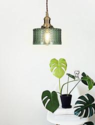 cheap -1-Light Japanese Retro Brass Carved Glass Pendant Light Bedroom Bedside Aisle Balcony Bar Table Lamp