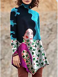 cheap -Women's T Shirt Dress Tee Dress Short Mini Dress Black Blue Purple Yellow Light Blue Long Sleeve Print Color Block Patchwork Print Fall Winter Turtleneck Casual 2021 S M L XL XXL 3XL