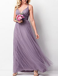 cheap -A-Line Halter Neck Floor Length Tulle Bridesmaid Dress with Criss Cross / Ruching