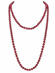 "cheap -1920s retro faux pearls burgundy beads cluster long pearl necklace 58"" for women jewelry"