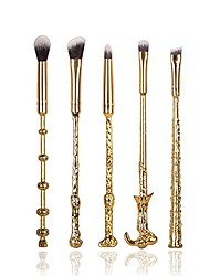 cheap -5pcs/set metal handle harry potty magic wand makeup brushes set eyeshadow eyebrows nose blending brushes kabuki make up brush with flannel bag (gold)