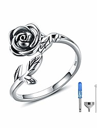 cheap -rose cremation urn jewelry for ashes - 925 sterling silver memorial keepsake ring brecelet necklace gift for women, bereavement gift for a loss of the loved one (antique ring)
