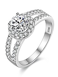 cheap -platinum or rhodium plated silver round-cut cubic zirconia antique ring for bride (size 10) j510
