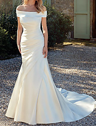 cheap -Mermaid / Trumpet Wedding Dresses Off Shoulder Court Train Satin Sleeveless Country Simple Backless with Ruched 2021
