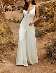 cheap -Two Piece Jumpsuits Wedding Dresses V Neck Chapel Train Detachable Lace Satin Sleeveless Country Simple with Appliques 2020