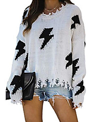cheap -women distressed ripped sweater pullovers flash lightning crewneck jumper knitted tops beige s
