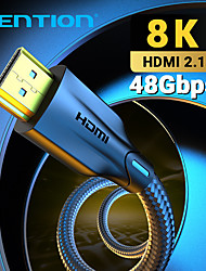 cheap -Vention HDMI Cable HDMI 2.1 Cable 8K@60Hz 4K@120Hz Ultra High Speed 48Gbps for PS4 Mi TV Box Splitter Digital HDR HDMI 2.1 Cable 0.5m