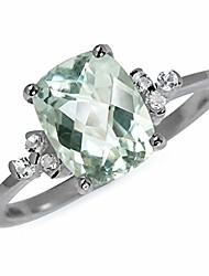 cheap -1.95ct. natural green amethyst and white topaz 925 sterling silver engagement ring size 6