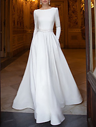 cheap -A-Line Wedding Dresses Jewel Neck Floor Length Stretch Satin Long Sleeve Romantic with 2020