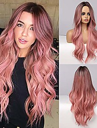 cheap -long curly ombre wigs 24 inch middle part none lace wigs for women dark brown rooted with pink hair synthetic wig for women natural looking wigs for party cosplay