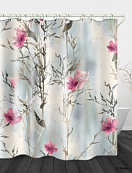 cheap -Vintage Watercolor Flowers Print Waterproof Fabric Shower Curtain For Bathroom Home Decor Covered Bathtub Curtains Liner Includes With Hooks