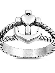 cheap -oxidized cross anchor heart ring sterling silver twisted rope band size 4