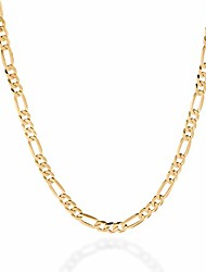 cheap -quadri - 18k gold plated over 925 sterling silver 5mm figaro link chain necklace 16-30 inch made in italy