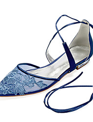 cheap -Women's Wedding Shoes Flat Heel Pointed Toe Classic Sweet Wedding Party & Evening Satin Mesh Lace Lace-up Flower Solid Colored Champagne Dark Blue Silver
