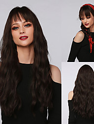 cheap -Cosplay Costume Wig Synthetic Wig Cosplay Wig Curly Water Wave Neat Bang With Bangs Wig Very Long Dark Brown Synthetic Hair 24 inch Women's Cosplay Party African American Wig Brown Ombre BLONDE