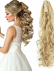 cheap -curly straight claw jaw ponytail clip in hair extensions wavy hairpiece, bleach blonde, 18 inch-curly