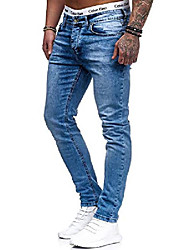 cheap -men's designer chino jeans pants basic stretch jeans pants slim fit w28-w36 light blue 5080 w31 l32