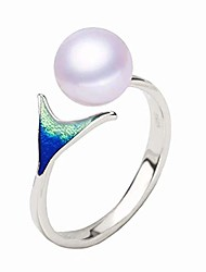 cheap -925 sterling silver mermaid pearl ring for women fashion women jewelry