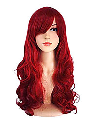 cheap -wig women's long big wavy hair 25 inches dark wine red ultra soft heat resistant fiber party cosplay accessories (red2) (red)