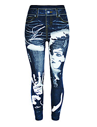 cheap -Women's Casual Chino Casual Daily Leggings Jeans Pants Graphic Ankle-Length Print Gradient blue Blue Dusty Blue