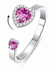 cheap -sterling silver rotating heart birthstone rings for wife girlfriend women embellished with 5a cubic zirconia ring 18k white gold plated adjustable size 7-9 anniversary day jewelry gifts