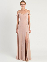 cheap -A-Line Spaghetti Strap Sweep / Brush Train Chiffon Bridesmaid Dress with Pattern / Print / Split Front / Open Back