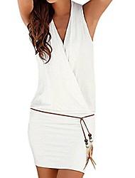 cheap -Women's A Line Dress Short Mini Dress White Black Sleeveless Solid Color Spring Summer Casual 2021 S M L XL XXL