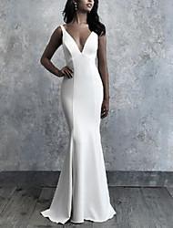cheap -Mermaid / Trumpet Wedding Dresses V Neck Floor Length Italy Satin Sleeveless Simple with 2021