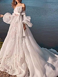 cheap -Ball Gown Wedding Dresses Off Shoulder Sweep / Brush Train Chiffon Lace Long Sleeve Country Beach with Bow(s) Ruffles 2021
