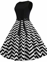 cheap -dress women fashion spring vintage 1950s retro simple sleeveless o neck wave print evening party cocktail prom dating swing pleated dress ball gown (black,uk-8/cn-m)