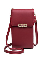 cheap -Women's Bags PU Leather Mobile Phone Bag Buttons Letter 2021 Shopping Daily Black Blue Purple Red