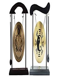 cheap -, multi-set feng shui zen art brass gong with wooden stand for home decor, desktop wind chime (2, yin yang + dragon)