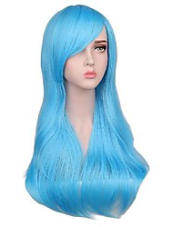 cheap -Synthetic Wig Curly Asymmetrical With Bangs Wig Medium Length Dark Brown Watermelon Red Brown Silver Blonde Synthetic Hair 26 inch Women's Anime Fashionable Design Soft Blue Brown