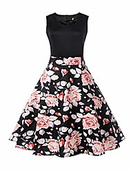cheap -spring women vintage rose garden printing bodycon sleeveless casual evening party vacation prom swing dress(black,uk-10/cn-l)