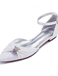 cheap -Women's Wedding Shoes Flat Heel Pointed Toe Wedding Flats Classic Sweet Wedding Party & Evening Lace Rhinestone Solid Colored White Champagne Ivory