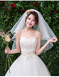 cheap -Two-tier Sweet Style Wedding Veil Elbow Veils with Trim Tulle