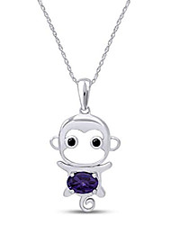 cheap -simulated alexandrite cute monkey animal cartoon pendant necklace in 14k white gold over sterling silver