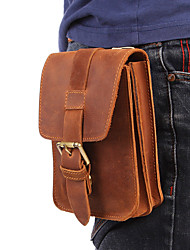 cheap -Men's Bags Cowhide Fanny Pack Mobile Phone Bag Buttons Plain 2021 Daily Date Brown